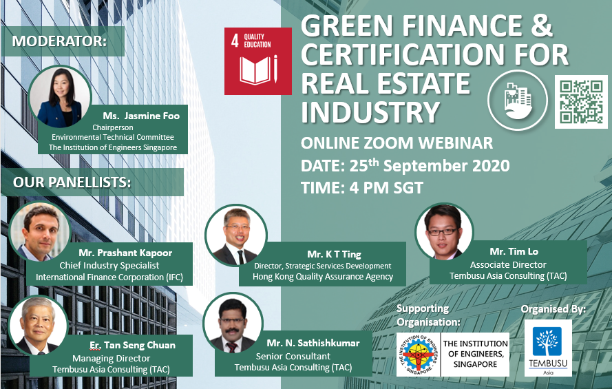 25 September 2020 Webinar on Green Finance and Certification for Real Estate Industry